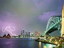 Lightning As Seen From The Sydney Harbour With The Sydney Cbd Skyline In The Distance