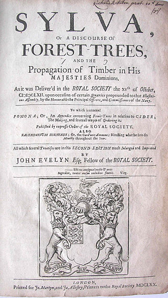 """Cider in the United Kingdom - Title page of second edition of Sylva. In 1702, the """"Pomona"""" appendix was added."""