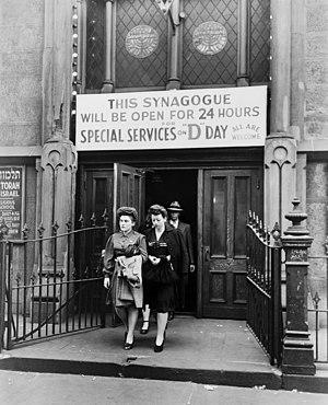 Jewish views and involvement in US politics - D-Day services at Congregation Emunath Israel on West Twenty-third Street, New York City