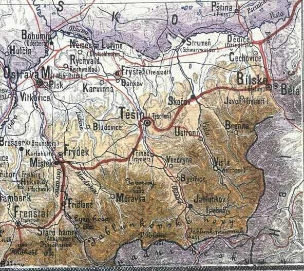 Těšínsko v roce 1888
