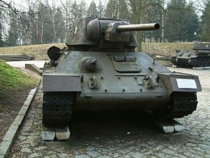 F-34 tank gun - The F-34 was the standard gun on the T-34 medium tank. Shown here is a T-34 Model 1943.