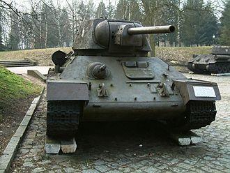 F-34 tank gun - The F-34 was the standard gun on the T-34 medium tank. Shown here is a T-34 Model 1943.