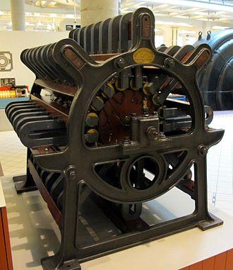 Magneto - 2kW Société de l'Alliance magneto generator for arc lamps, of around 1870