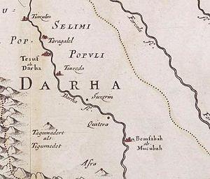 Tagmadert - Detail of map by Nicolas Sanson (1600-1667). Estats et royaumes de Fez et Maroc, Dahra et Segelmesse tirés de Sanuto, de Marmol.