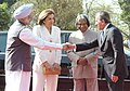 Tassos Papadopoulos and his wife Mrs. Fotini Papadopoulos with the President, Dr. A.P.J. Abdul Kalam and the Prime Minister, Dr. Manmohan Singh at a Ceremonial Reception at Rashtrapati Bhavan in New Delhi on April 12, 2006.jpg