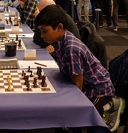 Praggnanandhaa vid Tata Steel Chess Tournament 2017.