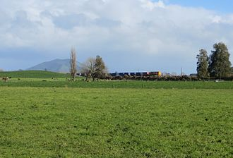 Te Awamutu railway station - Te Awamutu dairy factory trip train. Mt Kakepuku in background. August 2014