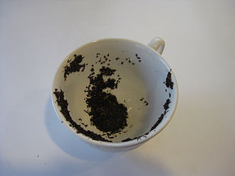 Tasseography - An example of a tea leaf reading showing a dog and a bird on the side of the cup.