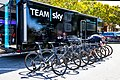 Team Sky vehicle and team bikes before the start of Stage 2 in Modesto (34906943871).jpg