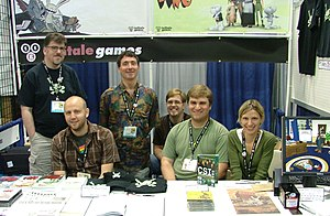 Telltale Games - The team of Telltale Games in 2007. From left: Chuck Jordan, Jake Rodkin, Dave Grossman, Daniel Farjam Herrera, Doug Tabacco and Emily Morganti, as well as a demo version of Sam & Max Save the World.