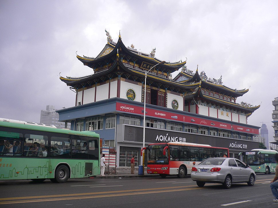Temple on the rooftop of a commercial building in Lucheng, Wenzhou, Zhejiang, China