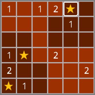 Minesweeper (video game) - A tentaizu puzzle with three stars (mines) already located and four remaining to be found.