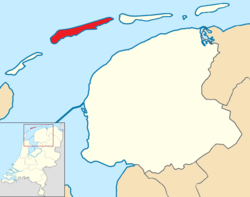 Highlighted position of Terschelling in a municipal map of Friesland