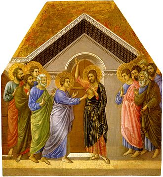 Doubting Thomas - Duccio, a panel from his Maestà