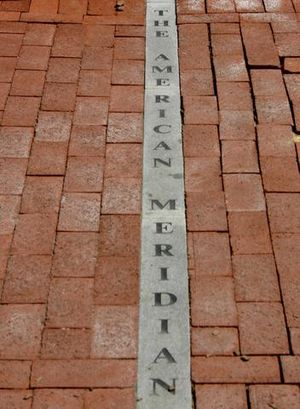 Foggy Bottom - The American Meridian Line, along 24th street north of the Old Naval Observatory was one of four attempts to move the Prime Meridian to the District of Columbia.