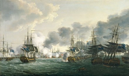 The picture is viewed from the south end of the King's Deep and shows the British fleet flying the blue ensign. In the right foreground the 'Russell' and 'Bellona', are shown in port-quarter view, their sharply pitched position indicating that they have gone aground The Battle of Copenhagen, 2 April 1801 RMG BHC0528.tiff