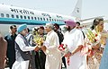 The Chief Minister of Haryana Shri. Bhupinder Singh Hooda, and the Chief Minister of Punjab Capt. Amrinder Singh, receiving Prime Minster Dr. Manmohan Singh on his arrival at Chandigarh airport on April 13,2005 (1).jpg