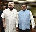 The Chief Minister of Punjab, Captain Amarinder Singh meeting the Union Minister for Electronics & Information Technology and Law & Justice, Shri Ravi Shankar Prasad, in New Delhi on April 20, 2017.jpg