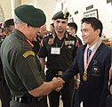 The Chief of Army Staff, General Bipin Rawat congratulating Sub. Jitu Rai, Gold Medallist (Shooting) for his outstanding performance in Commonwealth Games 2018, in New Delhi on April 18, 2018.JPG