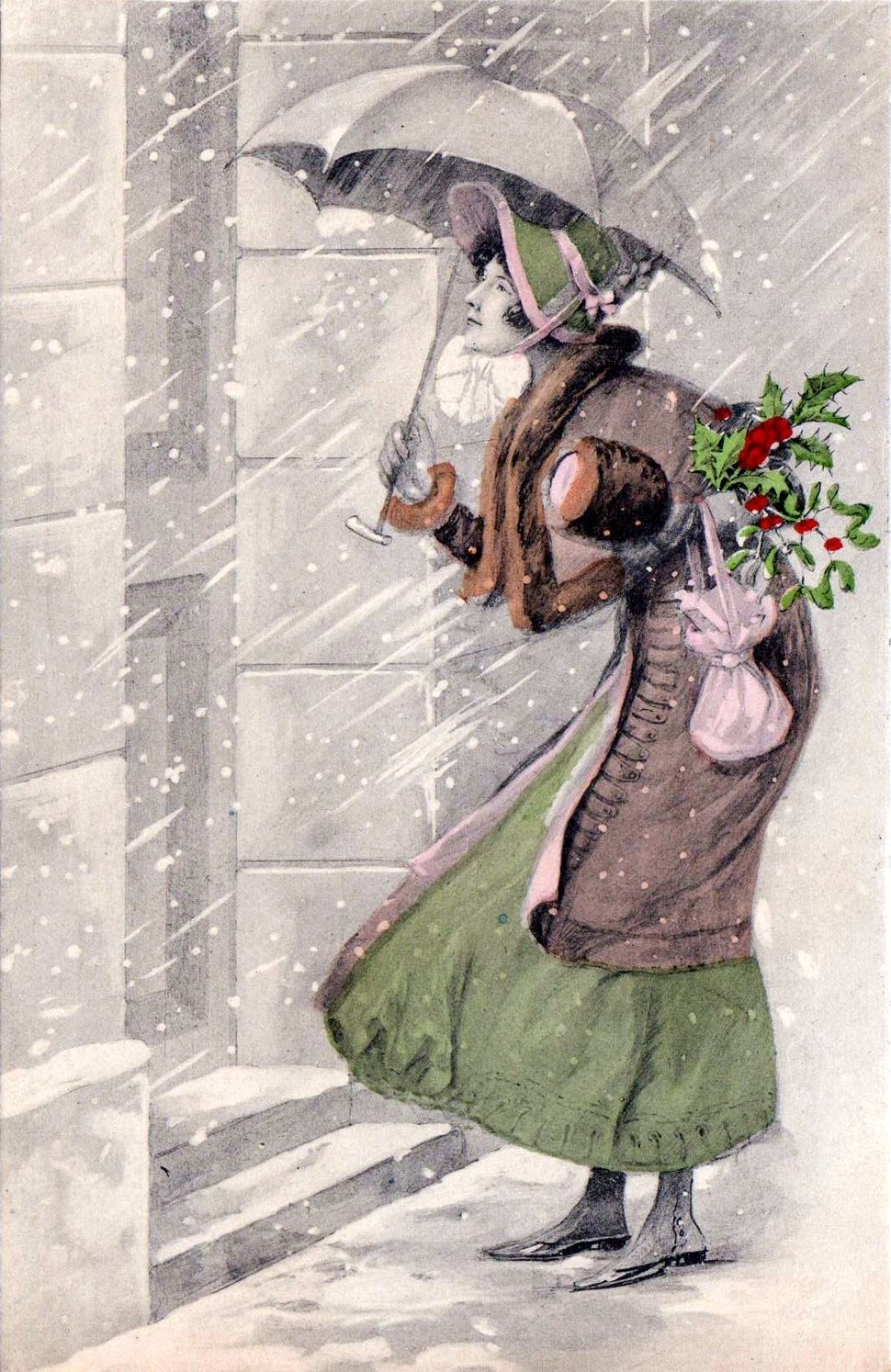 The Christmas Visit. Postcard, c. 1910