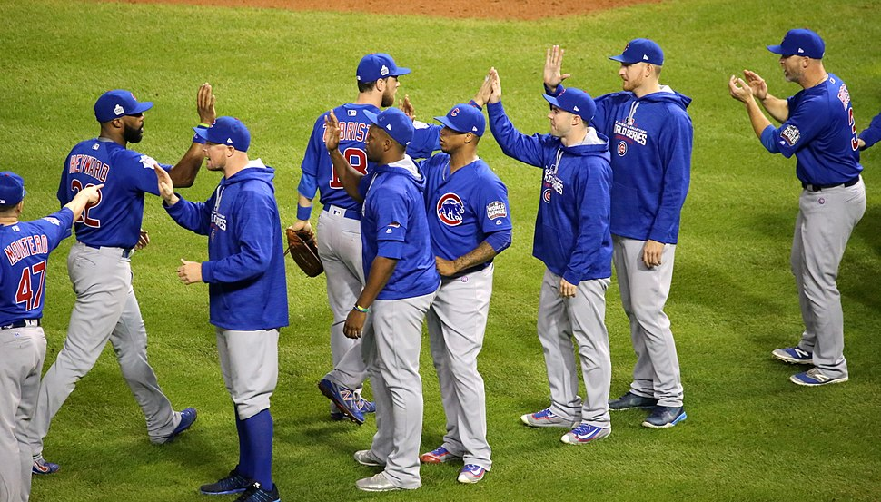 The Cubs celebrate after their 9-3 win over the Indians in World Series Game 6. (30637158101)