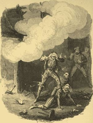 Holbeche House - The Explosion at Holbeche, depicted by George Cruikshank (1792-1878)