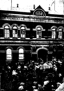 The Fremantle Wharf Crisis of 1919—The Casket Leaving Trades Hall.png