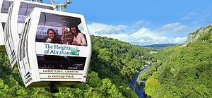 Heights of Abraham - The Heights of Abraham cable cars over the Derwent Valley