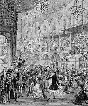 "The Miser's Daughter - ""Randulph and Hilda dancing at Ranelagh."" Illustration by George Cruikshank."