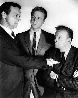"The New Breed (TV series) - L-R: Zachary Scott, Leslie Nielsen and John Clarke in episode ""Policemen Die Alone"" (1962)"