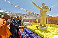 The President, Ram Nath Kovind paying floral tributes at the Statue of Dr. Babasaheb Ambedkar, during his visit to the Mahabodhi International Meditation Centre, in Leh on August 21, 2017.jpg