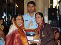 The President, Smt. Pratibha Devisingh Patil presenting the Arjuna Award-2009 to Ms. Parul D. Parmar for Badminton (Para Sports), in a glittering ceremony, at Rashtrapati Bhawan, in New Delhi on August 29, 2009.jpg