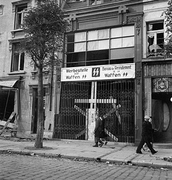 Waffen-SS recruiting center in Calais, Northern France photographed shortly after liberation by the Allies. The Schutzstaffeln (ss) B10730.jpg