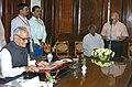The Vice President, Shri Bhairon Singh Shekhawat administering oath of office to Shri Ram Jethmalani, newly elected Rajya Sabha MP at Parliament House in New Delhi on April 12, 2006.jpg