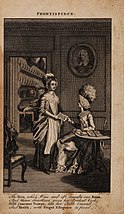 "Etching showing a mistress giving a servant a copy of the book. The caption reads ""The fair, who's wise and oft consults our books, and thence directions gives her prudent cook with chociest viands, has her table crowned, and health, with frugal ellegance is found"""