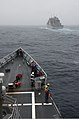 The guided missile frigate USS Ford (FFG 54), front, approaches the dry cargo and ammunition ship USNS Carl Brashear (T-AKE 7) for a replenishment at sea during exercise Trident Fury 2013 in the Pacific Ocean 130511-N-ZF573-012.jpg