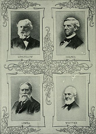 Fireside Poets - 1913 image featuring portraits representing the Fireside Poets: Longfellow, Holmes, Lowell, and Whittier