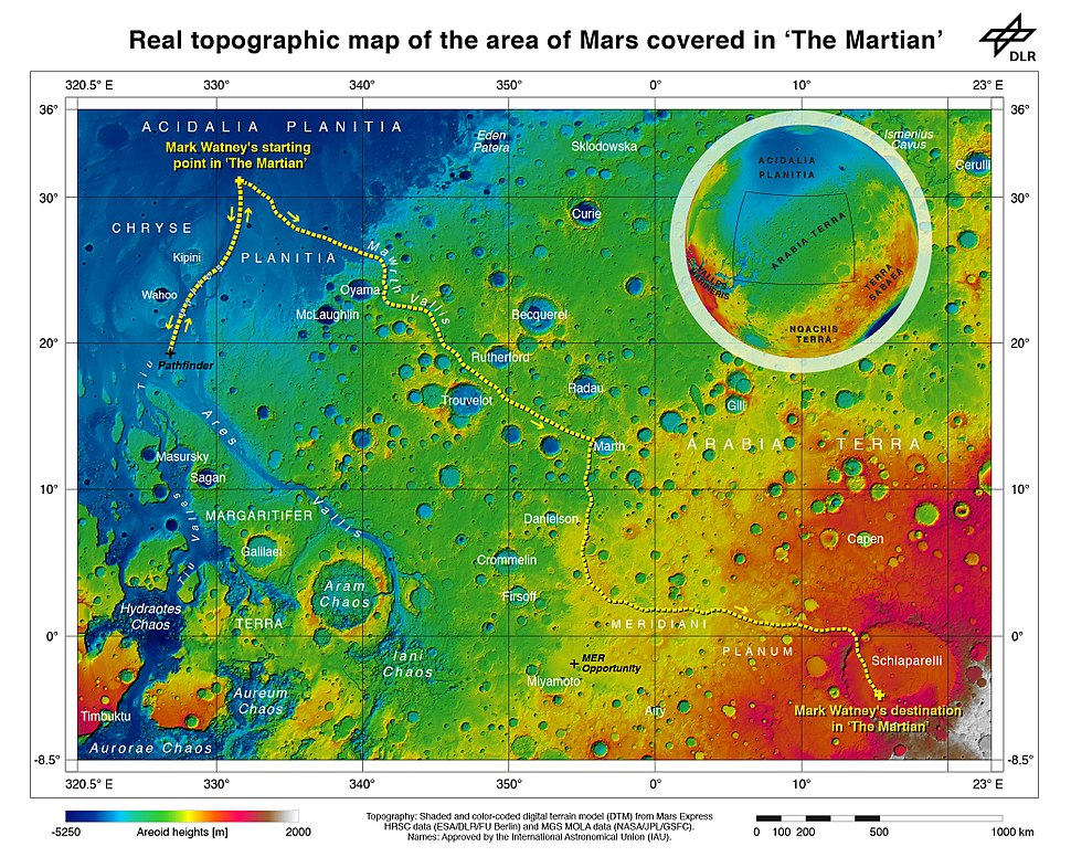 The route of 'The Martian' - from Chryse Planitia over Arabia Terra in the Martian highlands to Ares 4
