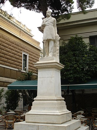 Theodoros Diligiannis - Statue near the old parliament (sculp. Georgios Dimitriades)