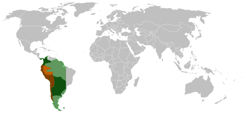 Colonized area in its maximum extension ca 1650 (dark green) and the Viceroyalty in 1816 (dark brown) Theviceroyaltyofperu.png