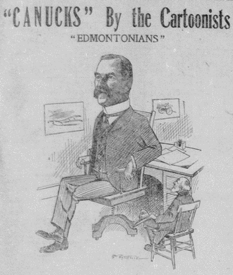 Thomas Bellamy - Cartoon of Bellamy in the Edmonton Bulletin, 1906
