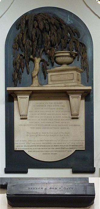 Monumental masonry - Wall-mounted memorial by Reeves of Bath of Thomas Preston Esq. (d.1820) and wife Jane (d.1823), their daughters, and many subsequent entries. The tablet was created c.1820 but entries were inscribed until 1848. It features the willow tree motif, and is in the City of London Church of St Magnus-the-Martyr, near London Bridge.