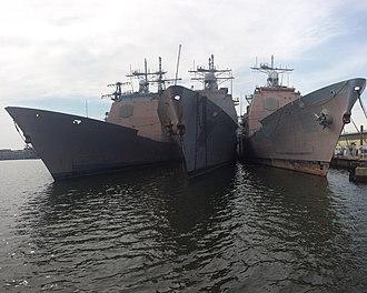 USS Yorktown (CG-48) - ex-Yorktown (CG-48), along with sister ships ex-Ticonderoga (CG-47) and ex-Thomas S. Gates (CG-51) laid up at Naval Inactive Ships Maintenance Facility, Philadelphia, Pennsylvania.