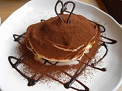 Tiramisu with cocoa powder and chocolate sauce (2398796815).jpg