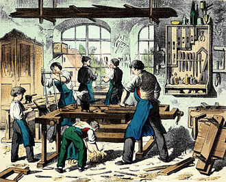Joiner - Illustration of an 1880s joiner's shop in Germany