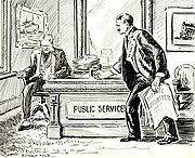 """Political Cartoon from 1912: A man representing the public with a copy of a newspaper with the headline """"Titanic Disaster"""" pounding his fist on a """"Public Services"""" desk belonging to a man representing """"The Companies"""""""