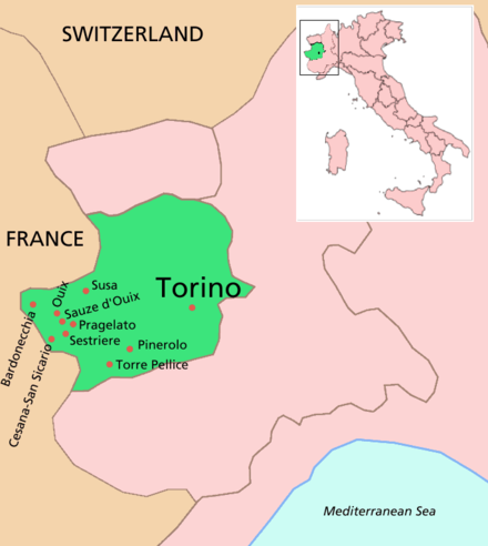 Location of Turin (Torino in Italian) and some other venues Torino location map winter olympics.PNG