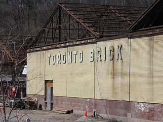 Don Valley Brick Works - Facade of old Toronto Brick company spelled out in relief with bricks