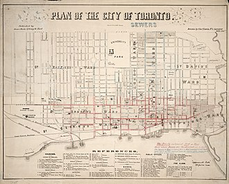 History of neighbourhoods in Toronto - A map of Toronto in 1858 when the city was divided into seven wards