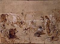 Toulouse-Lautrec - ESQUISSE, PEUPLADE PRIMITIVE, TRIBU PREHISTORIQUE, 1883, MTL.107.jpg